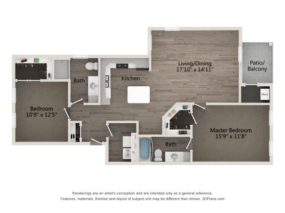 Prestige 2 BR 2 BA Floor Plan at Emerald Creek Apartments, South Carolina 29607