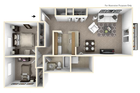 2-Bed/1-Bath, Lily Floor Plan at Portsmouth Apartments, Michigan, 48377