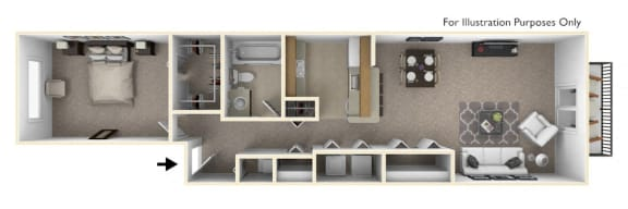 1-Bed/1-Bath, Peony Floor Plan at Portsmouth Apartments, Michigan