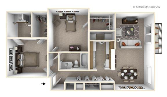 2-Bed/2-Bath, Poinsettia Floor Plan at Portsmouth Apartments, Michigan, 48377