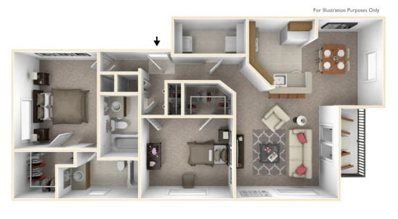 2-Bed/2-Bath, The Tyler Floor Plan at Prairie Lakes Apartments, Illinois, 61615
