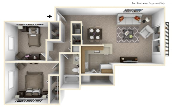 2-Bed/1-Bath, Moonflower Floor Plan at Southport Apartments, Michigan, 48111