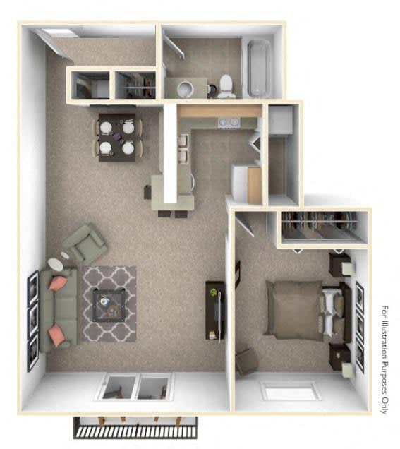 1-Bed/1-Bath, Spiera Floor Plan at Southport Apartments, Belleville