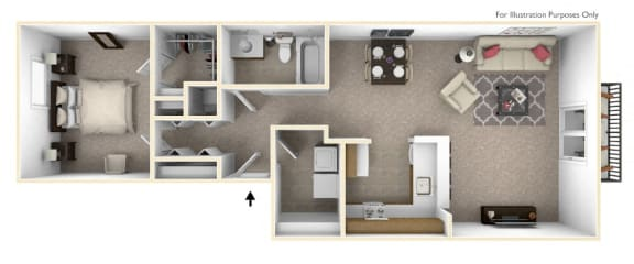 1-Bed/1-Bath, Aster Floor Plan at The Harbours Apartments, Clinton Twp, 48038
