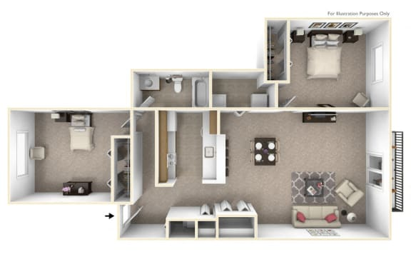 2-Bed/1-Bath, Azalea Floor Plan at The Harbours Apartments, Michigan, 48038
