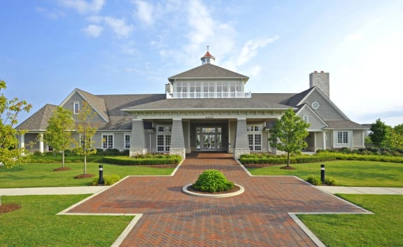 Luxurious Entrance Walking Path to Clubhouse at The Harbours Apartments, Clinton Township