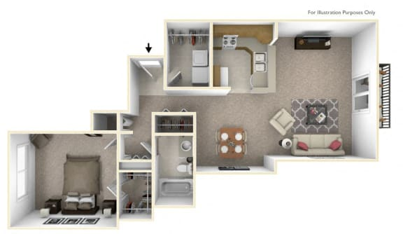 1-Bed/1-Bath, Gerbera Floor Plan at The Harbours Apartments, Michigan