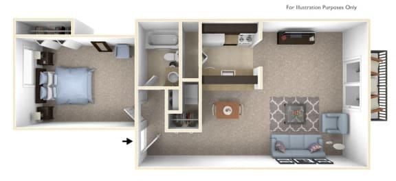 1-Bed/1-Bath, Carnation Floor Plan at The Landings, Westland