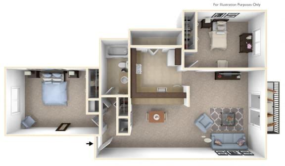 2-Bed/1-Bath, Constantia Floor Plan at The Landings, Westland, MI