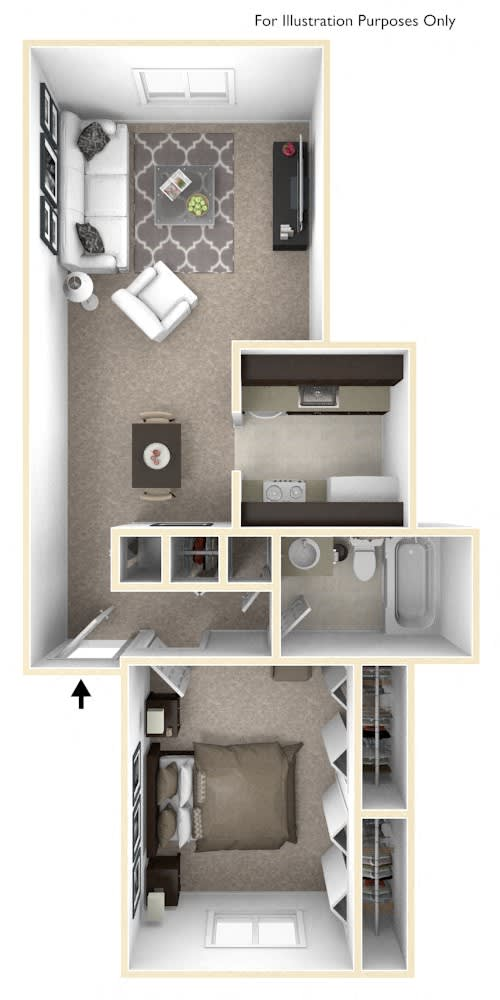 1-Bed/1-Bath, Mahonia Floor Plan at The Landings, Westland, Michigan