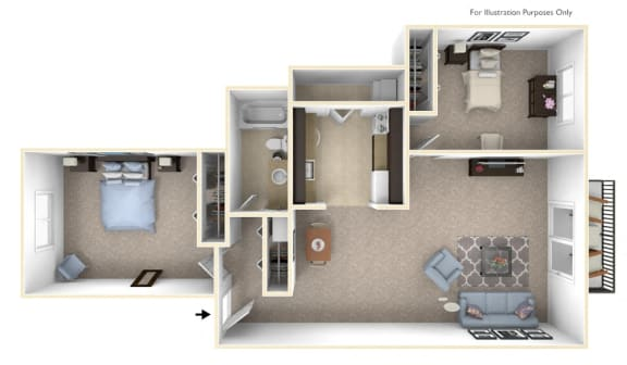 2-Bed/1-Bath, Periwinkle Floor Plan at The Landings, Michigan