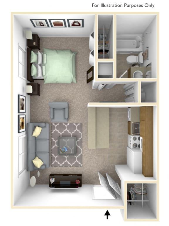 0-Bed/1-Bath, Allium Floor Plan at Timberbrook Apartments, Peoria, IL