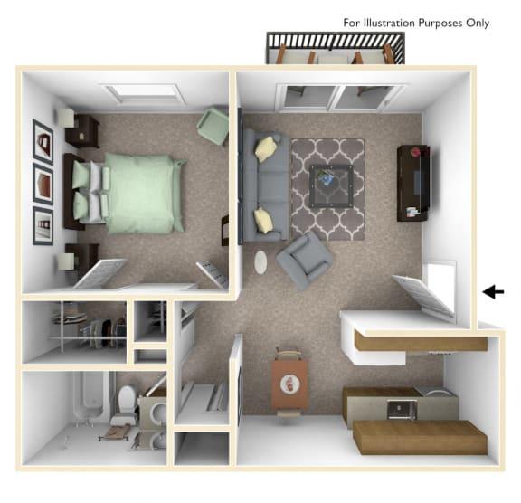 1 Bed 1 Bath 1-Bed/1-Bath, Mum Floor Plan at Timberbrook Apartments, Peoria, 61614