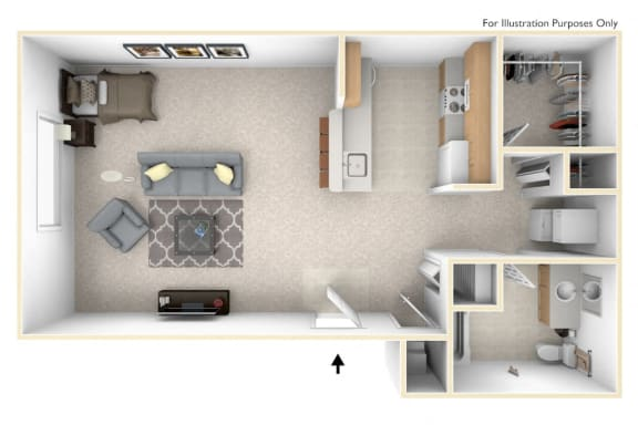 0-Bed/1-Bath, Daniel (studio) Floor Plan at Towne Lakes Apartments, Wisconsin, 54913