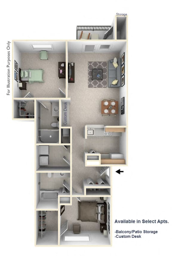 2-Bed/2-Bath, Jonathan Floor Plan at Towne Lakes Apartments, Wisconsin, 54913
