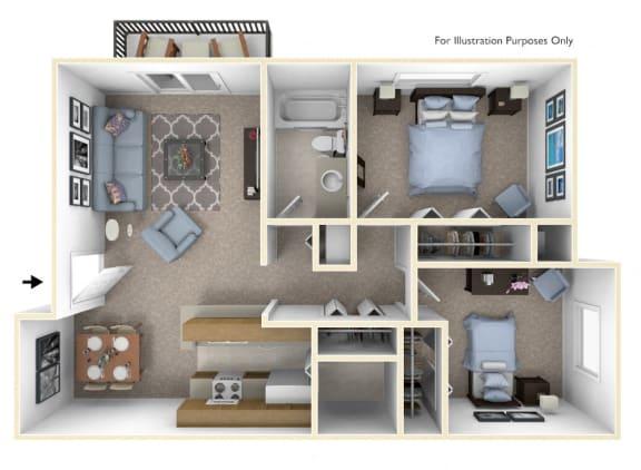 2-Bed/1-Bath, Daffodil Floor Plan at Windemere Apartments, Farmington Hills, MI