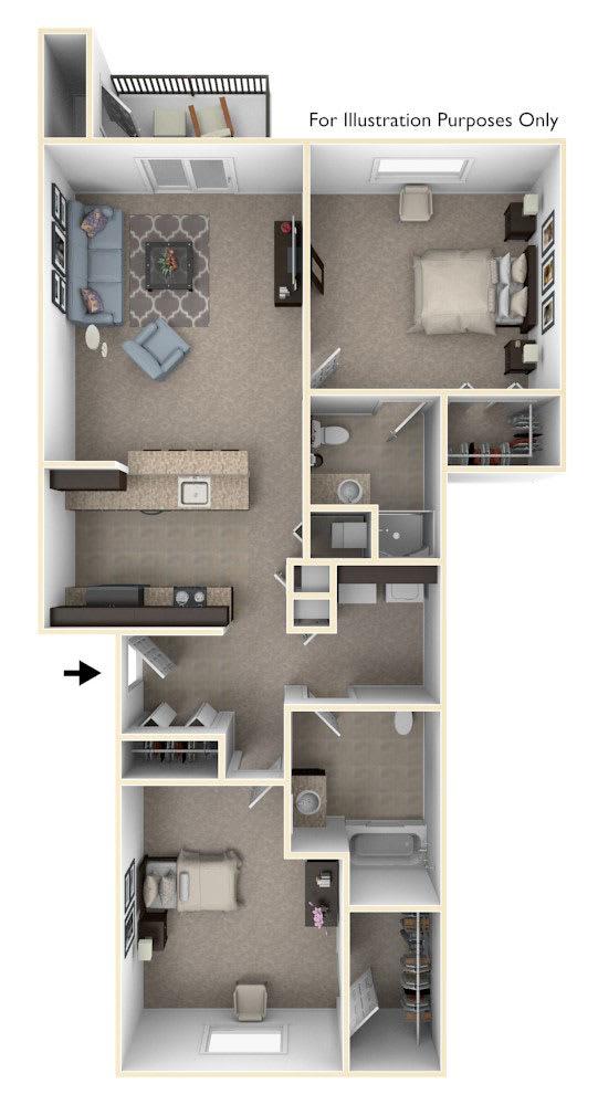 Two Bedroom Floor Plan at Trade Winds Apartment Homes in Elkhorn, NE
