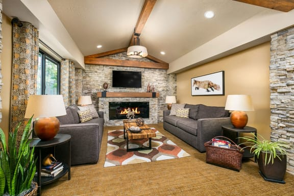 Resident Clubhouse with Fireplace at Salt Lake City 1 and 2 Bedroom Apartments
