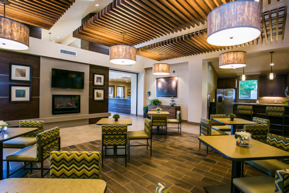 2 Bedroom Apartments in Chandler with Luxurious Resident Clubhouse with Fireplace