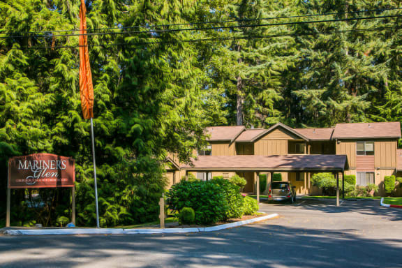 Entrace at Mariner's Glen Apartment Homes in Port Orchard, WA with Beautiful Forest Setting