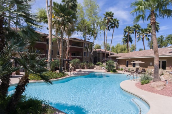 Crystal Clear Swimming Pool at Apartments Near Banner Health Center in Gilbert, AZ
