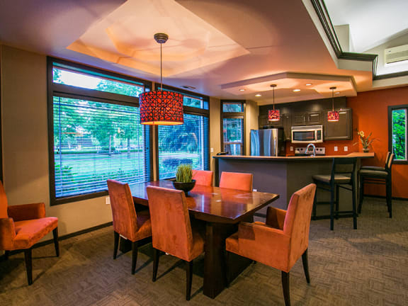 Luxurious Resident Clubhouse with Bar and Kitchen at Vancouver WA Apartments Near Blu Lake Regional Park