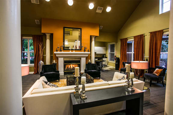 Luxurious Resident Clubhouse with Fireplace and Seating at Apartments in Orenco Station