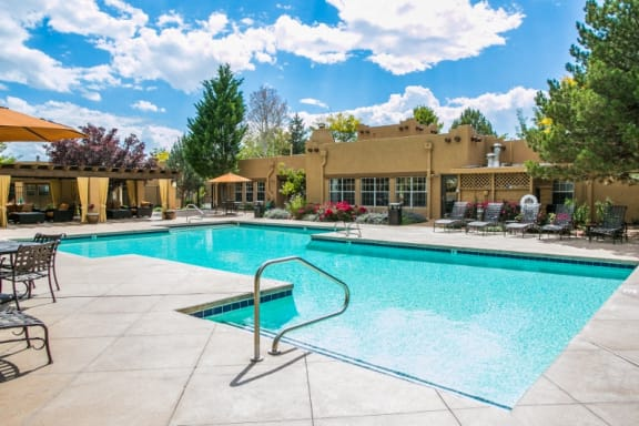 Apts for Rent in Santa Fe Nm with Sparkling Salt Swimming Pool with Sundeck and Lounge Seating