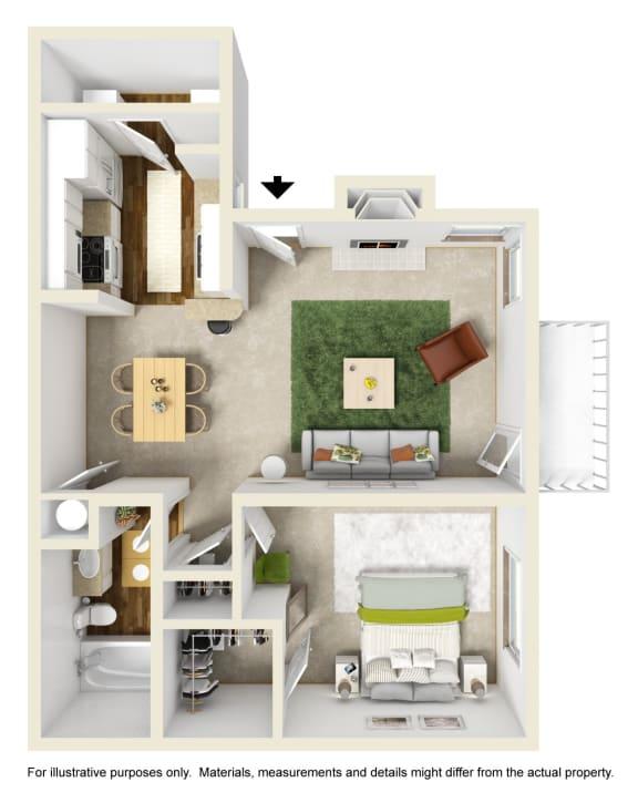 The Buttonwood Floor Plan at Willow Ridge Apartments, Charlotte, North Carolina