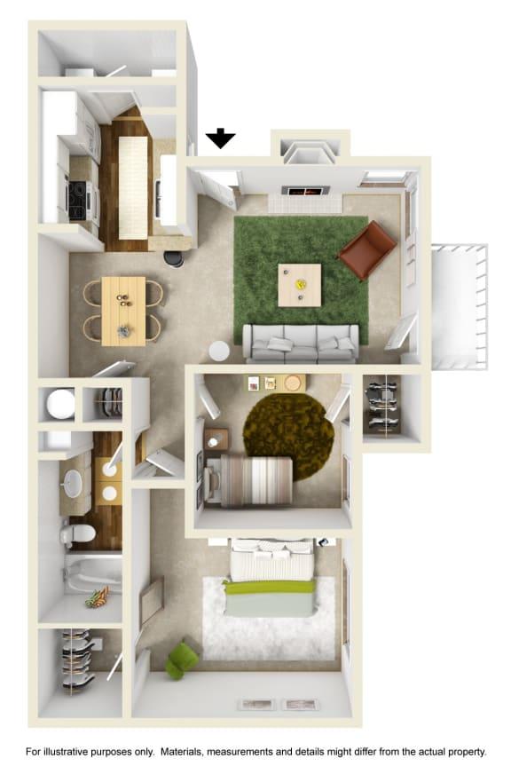 The Hemlock Floor Plan at Willow Ridge Apartments, Charlotte