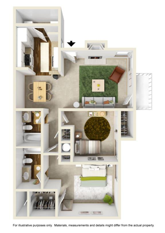 The Dogwood Floor Plan at Willow Ridge Apartments, North Carolina