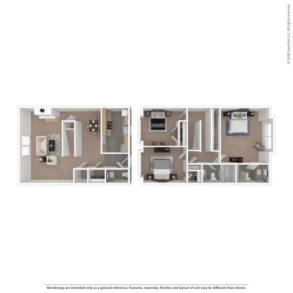 Floor Plan  Bordeaux Floor Plan at The Courtyards of Chanticleer, Virginia Beach, 23451