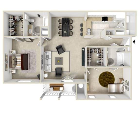 Floor Plan  Two Bedroom, Two Bathroom Floor Plan