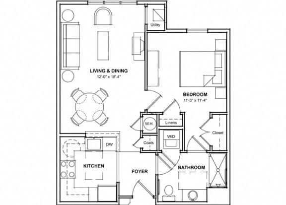 Floor Plan  One Bedroom Floor Plan- 1A