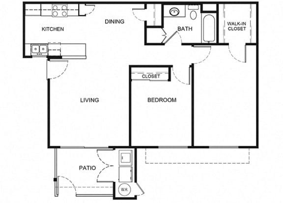 Plan 4 2 Bedroom 1 Bathroom Floor Plan at Knollwood Meadows Apartments, Santa Maria, CA