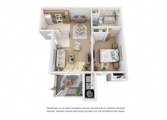 Plan 2 1 Bedroom 1 Bathroom 3D Floor Plan at Knollwood Meadows Apartments, Santa Maria