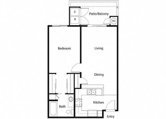 1 bed 1 bath floorplan, at Sumida Gardens Apartments, Santa Barbara, CA