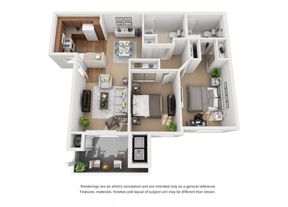 2 bed 2 bath Plan 4 floorplan at Sumida Gardens Apartments, Santa Barbara, CA