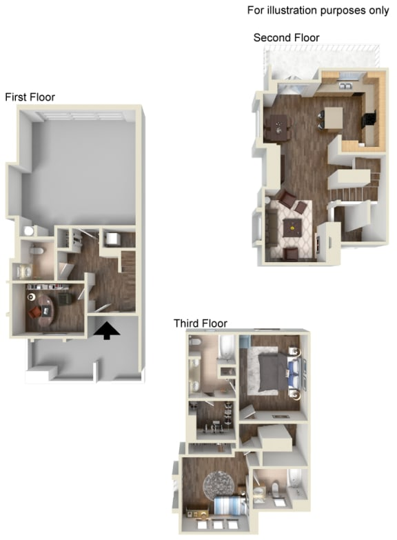 3 Bed - 2.5 Bath Floorplan at Ontario Town Square Townhomes 380 East Bluebird Privado, Ontario