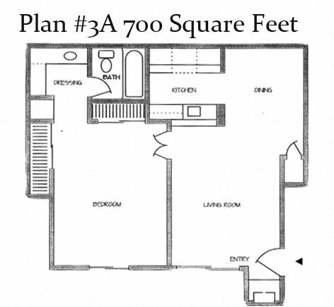 700 Sq.Feet Floor Plan3 at Charter Oaks Apartments, Thousand Oaks, California