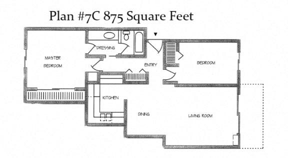 875 Square Feet Floor Plan at Charter Oaks Apartments, California, 91360