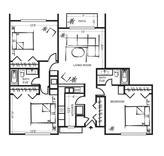 Three Bedroom Floorplan at Wilbur Oaks Apartments, Thousand Oaks, California
