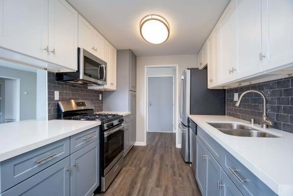 Steel Sink In Kitchen at El Patio Apartments, California