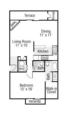 Large One Bedroom 1.5 Baths