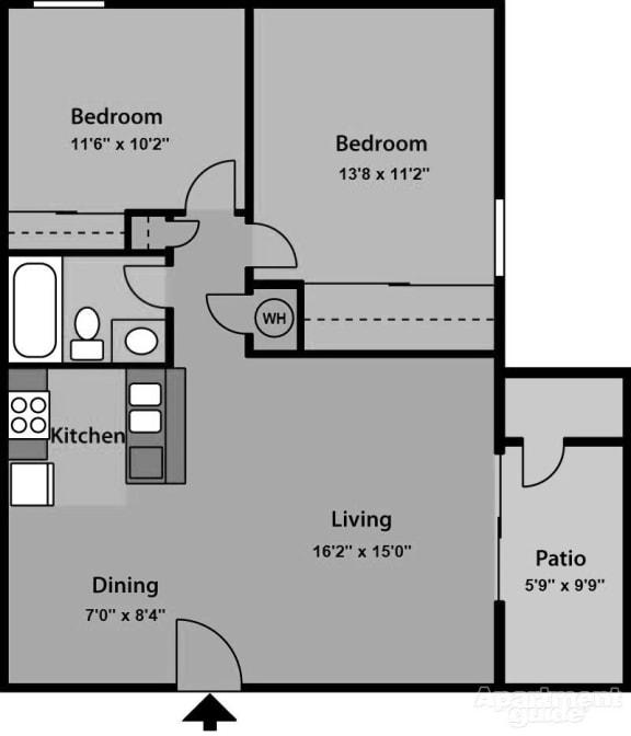 2 Bedroom 1 Bathroom Floor Plan at The Village at Iron Blossom, Reno, Nevada