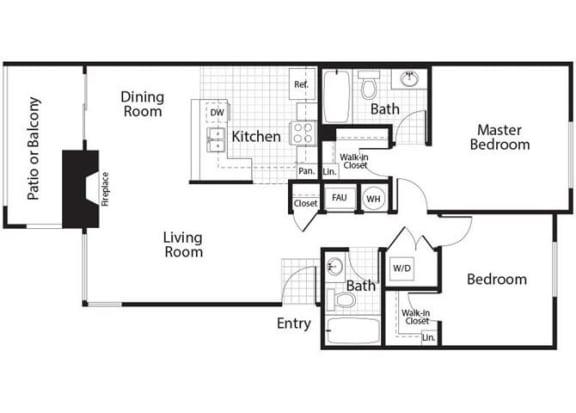 Bailey - 2 Bedroom 2 Bath Floor Plan Layout - 1037 Square Feet