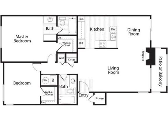 Baker - 2 Bedroom 2 Bath Floor Plan Layout - 1054 Square Feet