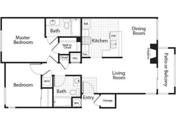 Diamond - 2 Bedroom 2 Bath Floor Plan Layout - 1053 Square Feet