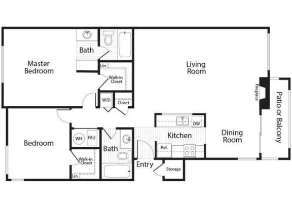 Lassen - 2 Bedroom 2 Bath Floor Plan Layout - 1027 Square Feet