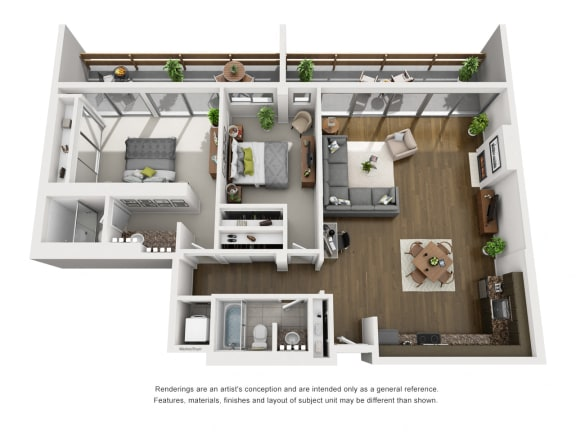 C  – 2 Bedroom 2 Bath Floor Plan Layout – 1419 Square Feet